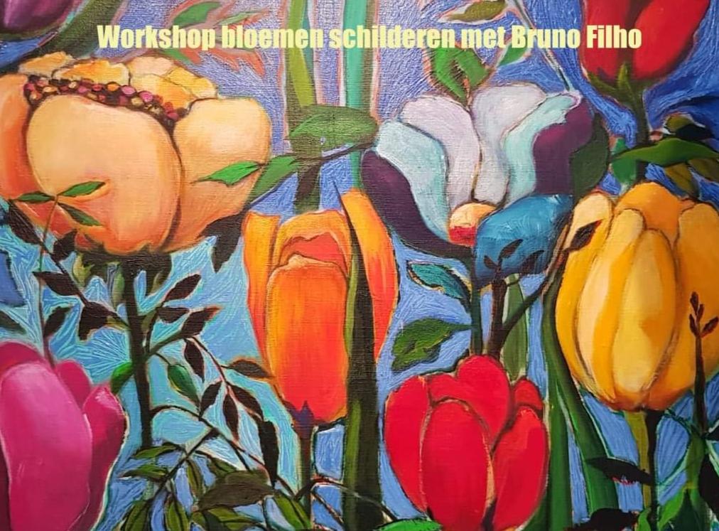 Workshop bloemen schilderen met Bruno Filho